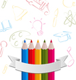 Colorful pencils with ribbon on pictogram vector