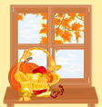Window with fruits healthy food autumn theme vector