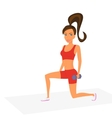 Woman at the gym is doing lunge exercise vector
