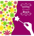 Decorative card with hand holding magic wand vector