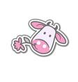 Cartoon cow with flower vector