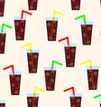 Seamless pattern with glass of cola background vector