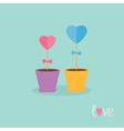 Two heart stick flowers in the pots and word love vector