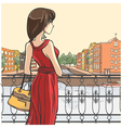 Elegant slender lady and urban panorama vector