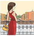 Elegant slender lady and urban panorama vector