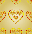 Seamless texture heart vintage gold background vector