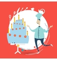 Chef decorate a cake vector