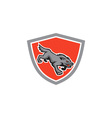 Angry wolf wild dog stalking shield retro vector