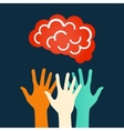 Hands reaching for the brain design vector