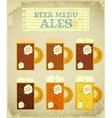 Vintage beer card ales vector