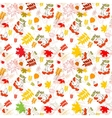 A seamless leaf and rowanberrys pattern background vector