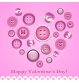 Valentines day card with buttons vector