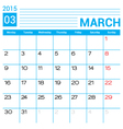 March 2015 calendar page template vector