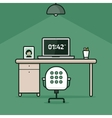 Abstract work place on green background vector