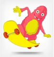 Funny monster skateboarding vector
