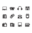 Silhouette media and technical equipment icons vector