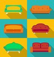 Icon set of sofas modern flat style with a long vector