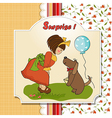 Young girl and her dog in a wonderful birthday vector