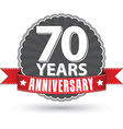 Celebrating 70 years anniversary retro label with vector