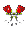 Logo two red roses vector