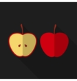 Flat apple with long shadow icon vector