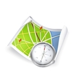 Road map and compass vector