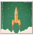 Retro flat design rocket start space stars vector