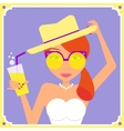 Flat redhair woman wearing yellow retro sunglasses vector