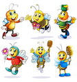 A group of happy bees vector