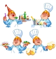Cheerful redhead cook vector