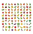 Food fruit and vegetables set of colored icons vector