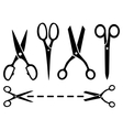 Many isolated scissors set vector