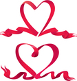 Set of two red ribbons are made in heart shape vector