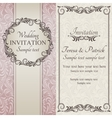 Baroque wedding invitation brown pink and beige vector