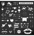 Valentines day set - on chalk boarder vector