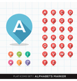 Set of a-z alphabet pin marker flat icons map gps vector