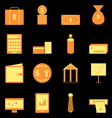 Business icons on black background vector