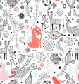 Texture of funny cats and fabulous animals vector