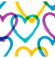Seamless pattern with watercolor hearts vector