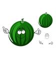Cute cartoon striped green watermelon character vector