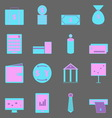 Business color icons on gray background vector