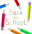 Back to school message with pencils on white vector