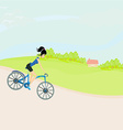 Happy driving bike with cute girl vector