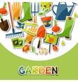 Background with garden sticker design elements and vector
