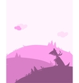 Dog silhouette dawn landscape for your design vector