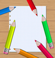 Colorful pencils on paper sheet background vector