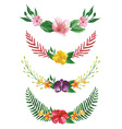 Isolated watercolor tropical flowers and leaves vector