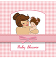 Young mother holding a new baby girl vector