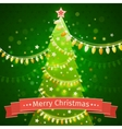 Christmas tree on a dark green background canvas vector