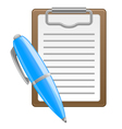Clipboard and pen vector